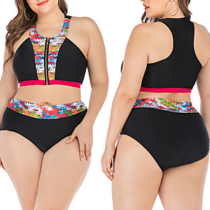 cheap Wetsuits, Diving Suits & Rash Guard Shirts-Women's Two Piece Swimsuit Elastane Swimwear Breathable Quick Dry Sleeveless 2-Piece - Swimming Water Sports Summer / Stretchy