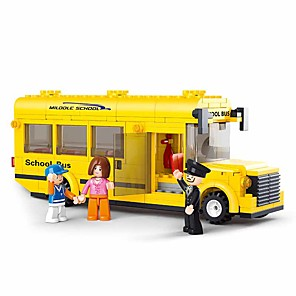 cheap Building Blocks-Building Blocks Educational Toy 219 pcs Bus Cartoon compatible Plastic Shell Legoing School Hand-made Decompression Toys DIY Boys and Girls Toy Gift / Kid's