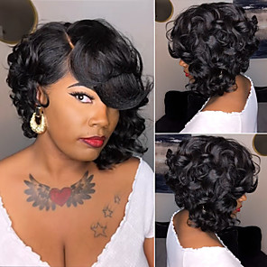 cheap Synthetic Trendy Wigs-Synthetic Wig Curly Matte Side Part Wig Long Natural Black Synthetic Hair 12 inch Women's Sexy Lady curling Black