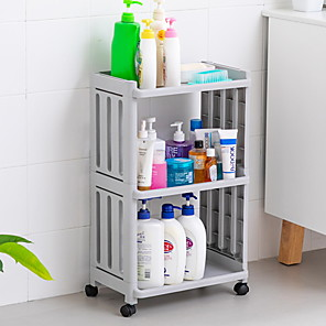 cheap Bathroom Gadgets-Hollow Fence Bathroom Shelf Multi-layer Toilet Bathroom Kitchen Storage Shelf With Wheel Storage Shelf