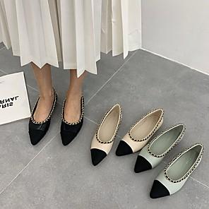 cheap Women's Boots-Women's Flats Summer Flat Heel Pointed Toe Daily PU Black / Beige / Light Blue