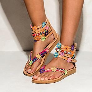 cheap Women's Sandals-Women's Sandals Summer Flat Heel Open Toe Daily PU Red