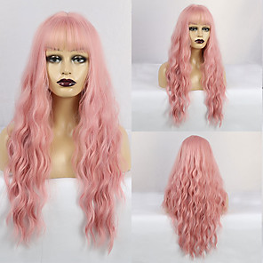 cheap Synthetic Trendy Wigs-Synthetic Wig Wavy Matte Neat Bang Wig Long Pink+Red Synthetic Hair 28 inch Women's Fashionable Design curling Pink