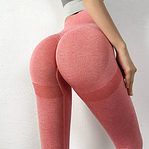 cheap Exercise, Fitness & Yoga Clothing-Women's High Waist Yoga Pants Seamless Ruched Butt Lifting Leggings Butt Lift Quick Dry Pink Blue Dark Navy Nylon Gym Workout Running Fitness Sports Activewear High Elasticity Skinny