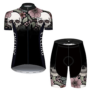 cheap Cycling Jersey & Shorts / Pants Sets-21Grams Women's Short Sleeve Cycling Jersey with Shorts Black / White Skull Bike Breathable Quick Dry Sports Patterned Mountain Bike MTB Road Bike Cycling Clothing Apparel / Micro-elastic