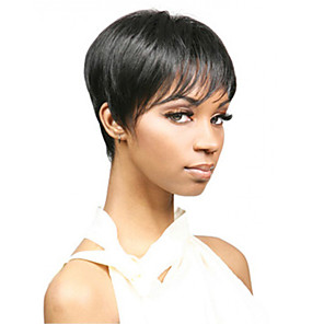 cheap Synthetic Trendy Wigs-Synthetic Wig kinky Straight Pixie Cut Wig Short Natural Black Synthetic Hair 12 inch Women's Simple Classic Women Black