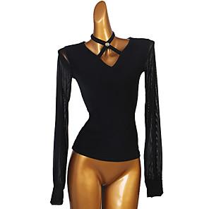 cheap Ballroom Dancewear-Ballroom Dance Top Split Joint Women's Performance Long Sleeve Spandex