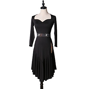 cheap Latin Dancewear-Latin Dance Dress Ruffles Split Joint Women's Training Long Sleeve High Spandex