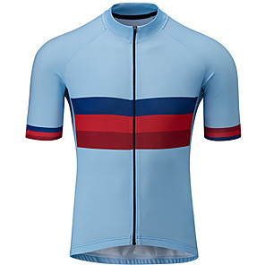 cheap Cycling Jerseys-21Grams Men's Short Sleeve Cycling Jersey Red+Blue Bike Jersey Top Mountain Bike MTB Road Bike Cycling UV Resistant Breathable Quick Dry Sports Clothing Apparel / Stretchy