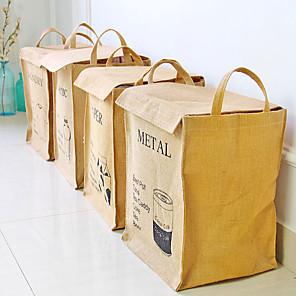 cheap Storage & Organization-Cotton And Linen Household Storage Square Box Sundries Sorting Storage Basket 1pc