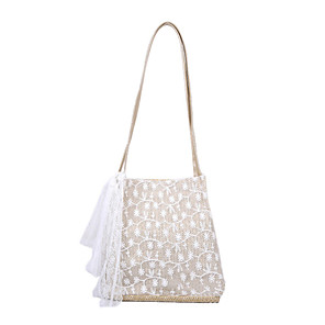 cheap Handbag & Totes-Women's Bags Polyester / Straw Top Handle Bag for Daily / Office & Career White / Khaki / Straw Bag / Fall & Winter