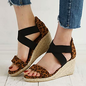cheap Women's Sandals-Women's Sandals Wedge Sandals Summer Wedge Heel Open Toe Daily Animal Patterned PU Brown / Beige / Animal Print