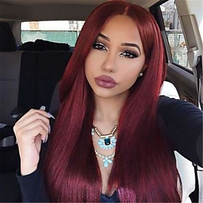 cheap Synthetic Lace Wigs-Synthetic Lace Front Wig Straight Classic Classic Straight Lace Front Wig Burgundy 24 inch 26 inch 22 inch Burgundy Synthetic Hair Women's Natural Burgundy