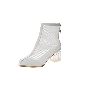 cheap Women's Boots-Women's Boots Spring &  Fall Chunky Heel Round Toe Daily Mesh White / Black / Yellow