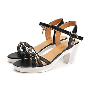 cheap Women's Sandals-Women's Sandals Summer Chunky Heel Open Toe Casual Daily PU Blue / White / Black