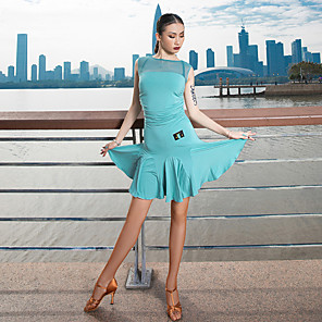 cheap Latin Dancewear-Latin Dance Dress Ruching Split Joint Women's Performance Sleeveless Modal Tulle
