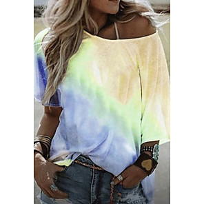 cheap LED String Lights-Women's T-shirt Color Block Tie Dye Round Neck Tops Summer Purple Yellow Blushing Pink