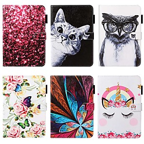 cheap iPad case-Case For Apple iPad 10.2 / iPad Mini 3/2/1 /Mini 4/5 Wallet / Card Holder / with Stand Full Body Cases Cat / Animal / Flower PU Leather For iPad Pro 9.7/New Air 10.5 2019/Air 2/2017/2018