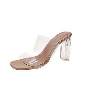 cheap Women's Sandals-Women's Slippers & Flip-Flops Summer Lucite heel Open Toe Daily PU Beige
