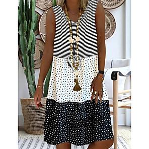 cheap Women's Sandals-Women's Plus Size Knee Length Dress - Sleeveless Polka Dot Summer Casual Holiday Vacation 2020 Black Red M L XL XXL XXXL XXXXL XXXXXL