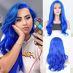 cheap Synthetic Lace Wigs-Synthetic Lace Front Wig Wavy Free Part Lace Front Wig Long Blue Synthetic Hair 18-26 inch Women's Cosplay Soft Adjustable Blue