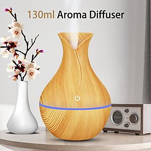 cheap Humidifiers-USB Electric Auto Home Steam Humidifier Aroma Anion Car Essential Oil Diffuser Air Freshener Wood Grain Aromatherapy Atomizer