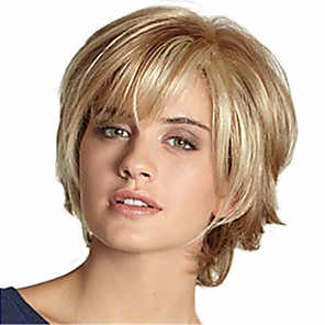 cheap Synthetic Trendy Wigs-Synthetic Wig Curly Matte Layered Haircut Wig Short Long Light golden Synthetic Hair 6 inch Women's Fashionable Design curling Fluffy Blonde