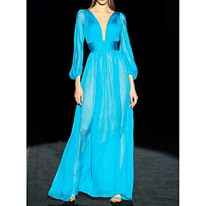 cheap Prom Dresses-A-Line Minimalist Blue Engagement Formal Evening Dress V Neck 3/4 Length Sleeve Floor Length Chiffon with Pleats 2020