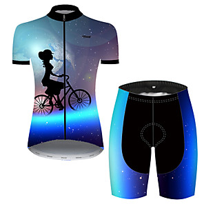cheap Cycling Jersey & Shorts / Pants Sets-21Grams Women's Short Sleeve Cycling Jersey with Shorts Nylon Polyester Black / Blue Galaxy Bike Clothing Suit Breathable 3D Pad Quick Dry Ultraviolet Resistant Reflective Strips Sports Galaxy