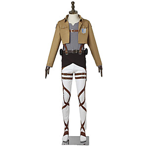 cheap Anime Costumes-Inspired by Attack on Titan Mikasa Ackermann Anime Cosplay Costumes Japanese Cosplay Suits Fashion Long Sleeve For Men's Women's