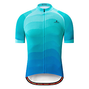 cheap Cycling Jerseys-Miloto Men's Short Sleeve Cycling Jersey Sky Blue Bike Jersey Top Mountain Bike MTB Road Bike Cycling Breathable Quick Dry Sports Clothing Apparel / Stretchy