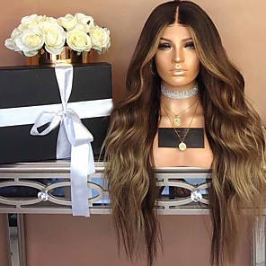 cheap Synthetic Trendy Wigs-Synthetic Wig Curly Layered Haircut Wig Very Long Brown Synthetic Hair 26 inch Women's curling Fluffy Waterfall Brown