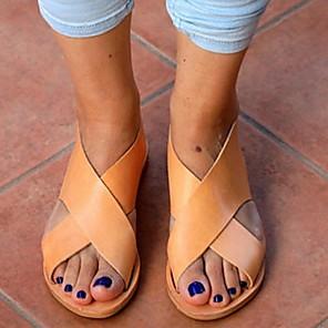cheap Women's Sandals-Women's Slippers & Flip-Flops Summer Flat Heel Open Toe Daily PU Yellow