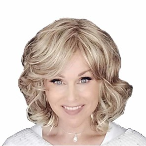 cheap Synthetic Trendy Wigs-Synthetic Wig Curly Matte Asymmetrical Wig Short Light golden Synthetic Hair 14 inch Women's Easy dressing curling Fluffy Blonde