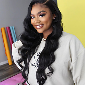 cheap Synthetic Lace Wigs-Remy Human Hair Lace Front Wig style Brazilian Hair Body Wave Natural Wig 150% Density New Arrival Women's Long Medium Length Very Long Human Hair Lace Wig