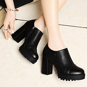 cheap Women's Boots-Women's Heels Summer Block Heel Pointed Toe Daily PU Black