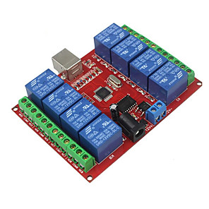 cheap Novelties-8 Way 12v Computer USB Control Switch Free Drive Relay Module / Pc Intelligent Switch Controller / Red Board