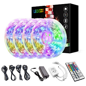 cheap LED Strip Lights-KWB 20M(4*5M) LED Light Strips Kit RGB Tiktok Lights 2835 1200 LEDs 8mm Strip Flexible Light LED IR 44Key Remote Controller with EU US AU UK Power Supply AC110-240V