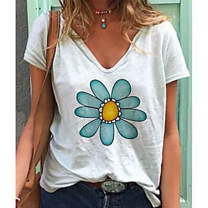 cheap Solid Duvet Covers-Women's T-shirt Floral Short Sleeve Tops V Neck White