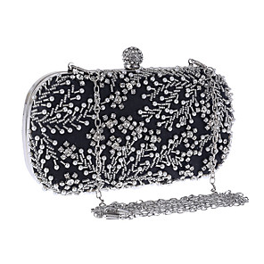 cheap Clutches & Evening Bags-Women's Embroidery / Chain Polyester Evening Bag Embroidery Almond / Silver / Black