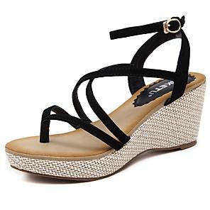 cheap Women's Sandals-Women's Sandals Summer Wedge Heel Open Toe Daily PU Almond / Black
