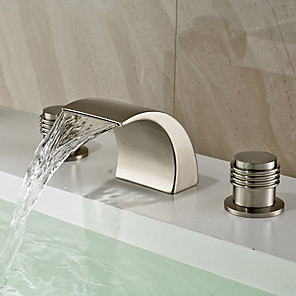 cheap Bathtub Faucets-Bathroom Sink Faucet - Widespread / Waterfall Nickel Brushed Deck Mounted Two Handles Three HolesBath Taps