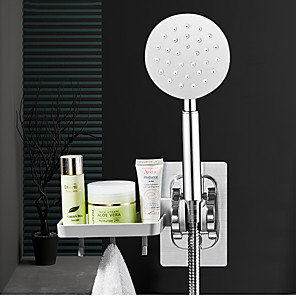cheap Bathroom Gadgets-Wall Gel Mounted Shower Head Stand Bracket Holder Soap Dish With Hook Adjustable Bathroom Shower Head Fitting Portable Bathroom Accessories