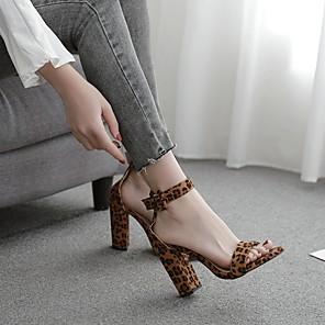cheap Women's Sandals-Women's Sandals Summer Chunky Heel Open Toe Daily PU Brown / Animal Print