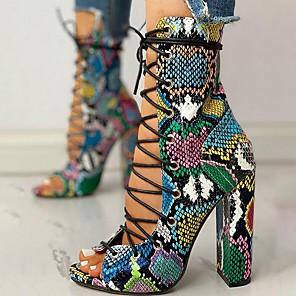 cheap Women's Sandals-Women's Sandals Summer Cuban Heel Open Toe Roman Shoes Daily PU Rainbow