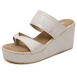 cheap Women's Sandals-Women's Sandals Summer Wedge Heel Peep Toe Daily PU Black / Gold / Silver / Bunion Sandals