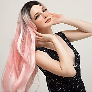 cheap Synthetic Lace Wigs-Synthetic Lace Front Wig Straight Jolie Middle Part Lace Front Wig Pink Ombre Long Ombre Pink Synthetic Hair 22-26 inch Women's Heat Resistant Women Hot Sale Pink Ombre / Glueless