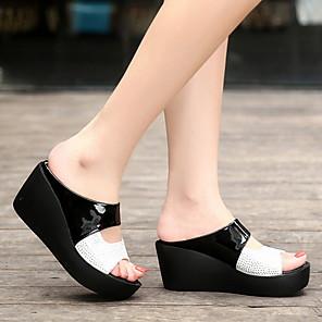 cheap Women's Sandals-Women's Sandals / Clogs & Mules Wedge Sandals Summer Wedge Heel Peep Toe Daily PU White / Black / Orange