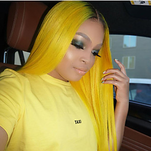 cheap Synthetic Lace Wigs-Synthetic Lace Front Wig Straight Shakira Middle Part Lace Front Wig Ombre Long Ombre Color Synthetic Hair 22-26 inch Women's Heat Resistant Women Hot Sale Ombre Yellow / Glueless
