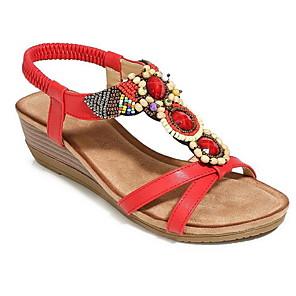 cheap Women's Sandals-Women's Sandals Wedge Sandals Wedge Heel Open Toe Daily PU Summer Camel / Black / Red